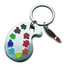 Schlüsselanhänger Pinsel Malpalette Metall silber REFLECTS