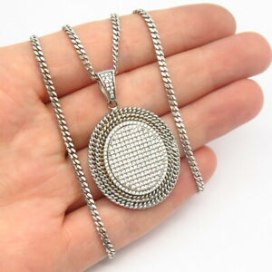 """925 Sterling Silver Italy C Z Oval Pendant Cuban Chain Necklace 17"""""""
