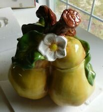 """Bico 3 Pears with Flower Blossom Cookie Jar 10"""""""