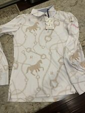 Ronner Mulberry Polo Taupe Equestrian Shirt  M