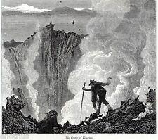 Cratere del Vesuvio.Vesuvius.Veduta Pittoresca.Stampa Antica + Passepartout.1878