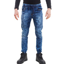 Vaqueros de hombre pantalones denim slim elástico con cordón casual algodón 2598