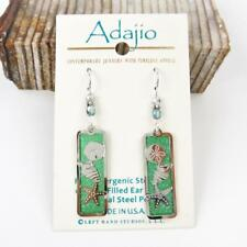 Adajio Earrings Green Column with Shiny Silver Sand Dollar Seashell Starfish