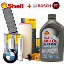 Kit tagliando olio SHELL HELIX 5W30 6LT+4 FILTRI BOSCH BMW 120D E81 E87 120 KW