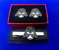 Darth Vader Star Wars Tie Bar & Cufflinks Set Wedding Groom Party Birthday NEW
