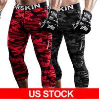 DRSKIN 3/4 Mens Compression Pants Base Layer Sports Leggings Gym Training Jogger