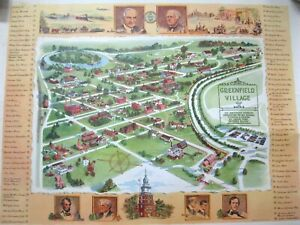 1951 Map Of Greenfield Village Edison Ford Wall Poster Hanging FREE SHIPPING