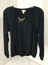 MICHAEL KORS WOMEN'S CHAIN ACCENT NECK LONG SLEEVE TOP NAVY PETITE SM NWT $90