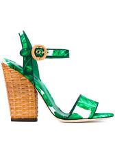 Dolce and Gabbana Banana Leaf Print Satin Sandal