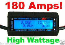 180 AMP Real HIGH POWER Watt Meter BIG WIRE  HEAVY 8 AWG Solar/Wind Turbines