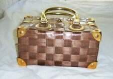 Gaymode woven basket purse, brass like handles (plastic) & accents (metal); Made