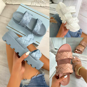 New Womens Double Woven Strap Slip On Sliders Summer Sandals Comfy Shoes Sizes