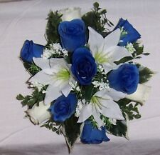 wedding flowers guest table royal blue & ivory roses &  lilys gyp