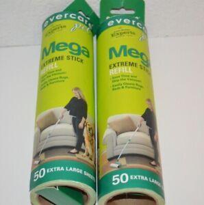 evercare Mega Extreme Stick 50 Sheet Extra Large Lint Roller Refill Lot 2