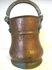 Primitive Antique Copper DOVE TAILED HandHammered/Forged Metal Handle Bucket/Pot