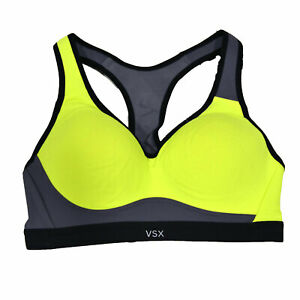 Victoria's Secret Vsx Sports Bra 32C Yellow Gray Colorblock Workout Top Damaged