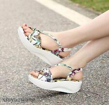 Womens Open toe Floral Platform Boho Sandals Mid Wedge Heel Slingback Shoes Size