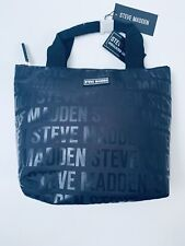 Steve Madden White Logo Insulated Black Zippered Handle Lunch Tote Bag Big