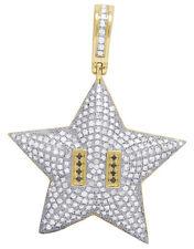 Mens 10K Yellow Gold Super Mario Star Bros Real Diamond Charm Pendant 1 1/10 CT