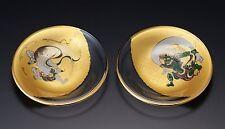 Pair of Wind & Thunder Gods Round Glass Plates