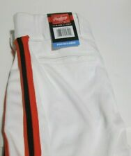Rawlings White with Orange/ Black  Baseball Pants Semi Relaxed Fit Youth Large