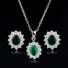 18K WHITE GOLD PLATED CUBIC ZIRCONIA EMERALD GREEN NECKLACE & EARRING SET