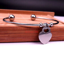 Lot 5pcs on sale Stainless Steel Ball End Open Cuff bangle Heart Charm Bracelet