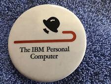 "IBM ""LITTLE TRAMP HAT & CANE "" PIN BACK ADVERTISING BUTTON"