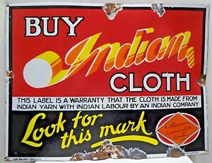 VINTAGE SIGN PORCELAIN ENAMEL OLD INDIAN CLOTH ADVERTISEMENT COLLECTIBLES RARE