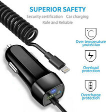 Car Charger For iPhone11 Pro Max 6 8 Lightning Fast Charging With Extra USB Port