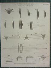 1817 DATED ANTIQUE PRINT ~ ASTRONOMICAL INSTRUMENTS TELESCOPES ACHROMATIC
