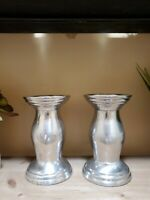 """Pair of Silver Pillar Candle Holders 6"""" X 5 1/2"""" Round Base FAST SHIP"""