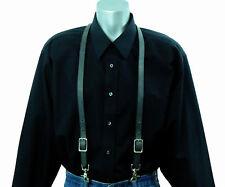 Dark Gray Leather Skinny Thin Suspenders scissor trigger snaps