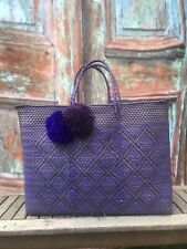 Artisan Mexican Handmade Woven Recycled Plastic Purple Tote Basket Beach Bag Xl