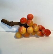 Large Vintage Alabaster Red/Yellow Grape Bunch With Wood Stem MCM Mid Century
