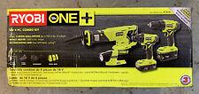 Ryobi P1818 18-Volt Cordless 4-Tool Combo Kit with (2) Batteries Charger & Bag