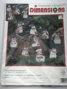 Dimensions Snow People Ornaments Cross Stitch Kit 9 PCs Set New Sealed
