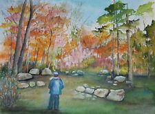 "Painter Suzanne Obrand, Holocaust Survivor, Watercolor ""Man in the Park"""