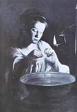 Young Girl Searching for Fleas, Crijn Volmarijn, Magic Lantern Glass Slide