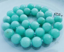 """Hot 8mm natural pale blue Aquamarine Faceted round necklace 18 """"AAA"""