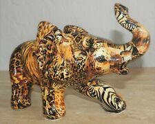 La Vie Ceramic Elephant Figurine Safari Pattern Decoupage Collectible Rare Style