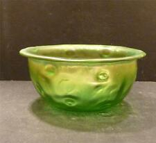 "Bohemian, Loetz Creta Rusticana Green Art Glass Bowl - 2 1/2"" - MINT"