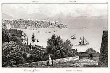 GENOVA: Panorama. Riviera.Liguria.Regno di Sardegna. ACCIAIO. Stampa Antica.1835