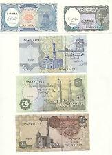 EGYPT 5 PAPER MONEY RARE (UNC) EGYPTIAN NOTES COLLECTIAN SET