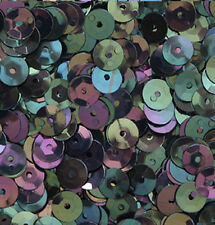 8mm Cup SEQUIN FACET PAILLETTES ~  BLACK RAINBOW IRIS IRIDESCENT~ Made in USA