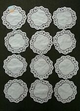 "VINTAGE BATTENBURG LACE Doilies 100% Cotton 8"" X 8"" Round - 1 Dozen"