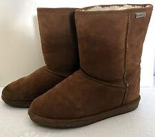 BEARPAWS women WINTER SNOW BOOT US 10 Emma brown short Suede Sheepskin L453