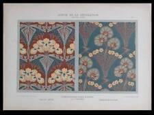 ETOFFES ART NOUVEAU -1901- LITHOGRAPHIE, IRIS DU JAPON, GERANIUM, PILTERS, FLEUR