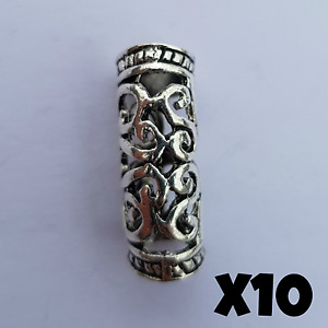 10x Viking Beard Bead Dreadlocks Cuff Hair Beads Jewellery Celtic Silver Tibetan