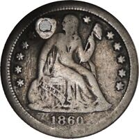 1860-S LIBERTY SEATED SILVER DIME VG+ DETAILS - HOLED / CULL CONDITION 041821007